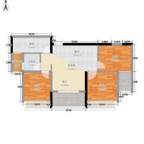 长大彩虹都3室0厅1卫1厨99.00㎡户型图