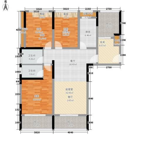 长大彩虹都3室0厅2卫1厨133.00㎡户型图
