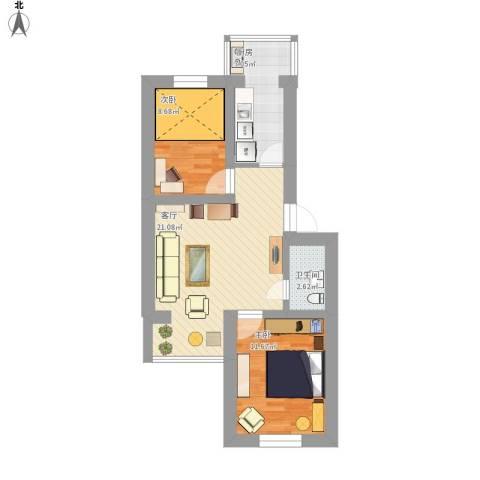 龙乡小区2室1厅1卫1厨79.00㎡户型图