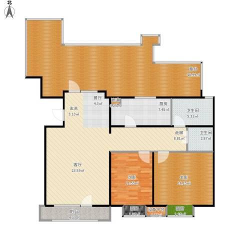 康城·瑞河兰乔2室1厅2卫1厨173.00㎡户型图