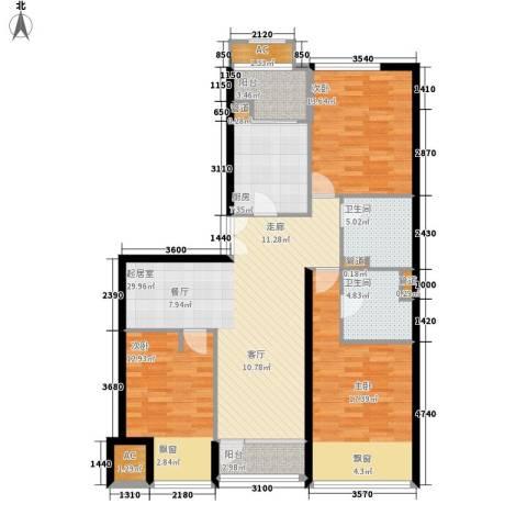 大西洋新城G区3室0厅2卫1厨143.00㎡户型图
