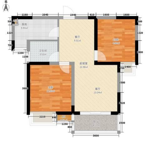 锦园小区2室0厅1卫1厨84.00㎡户型图