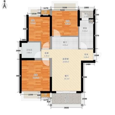 锦园小区3室0厅1卫1厨94.00㎡户型图