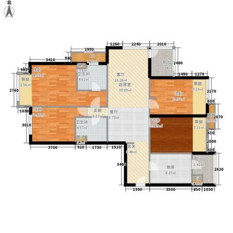 大西洋新城G区4室0厅2卫1厨165.00㎡户型图