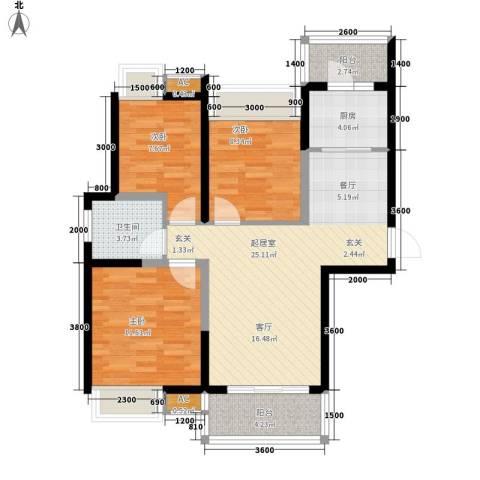 锦园小区3室0厅1卫1厨98.00㎡户型图