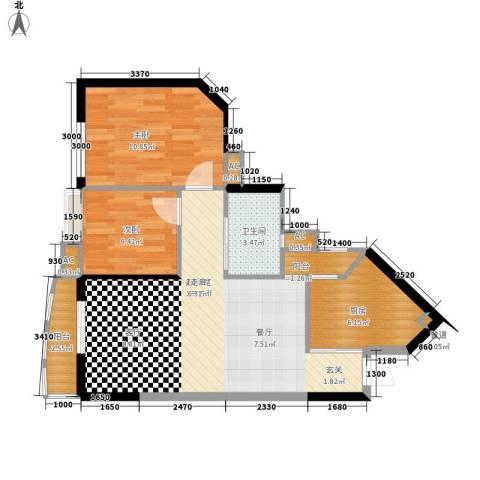 恒荔湾畔2室0厅1卫1厨72.00㎡户型图