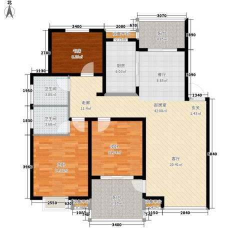 香山花园3室0厅2卫1厨130.00㎡户型图