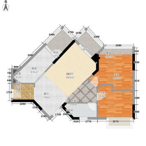 广州雅居乐花园时光九篇2室1厅1卫1厨79.00㎡户型图
