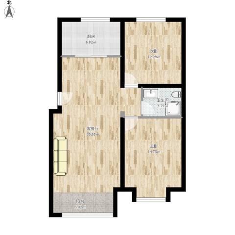 领秀新硅谷2室1厅1卫1厨103.00㎡户型图
