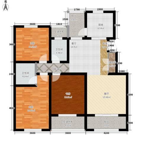 新科花苑3室1厅2卫1厨150.00㎡户型图