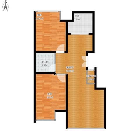 豪邦缇香公馆2室1厅1卫1厨103.00㎡户型图