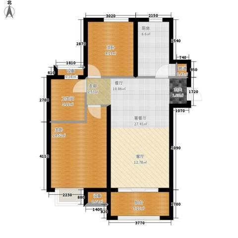 中海8号公馆2室1厅1卫1厨80.00㎡户型图
