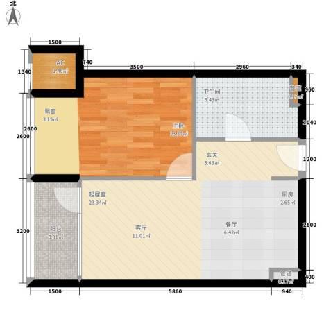 大西洋新城G区1室0厅1卫0厨68.00㎡户型图