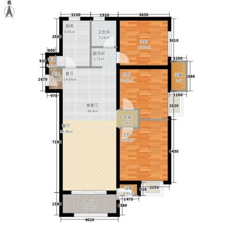 中海8号公馆3室1厅1卫1厨105.00㎡户型图
