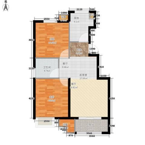 中海8号公馆2室0厅1卫1厨80.00㎡户型图