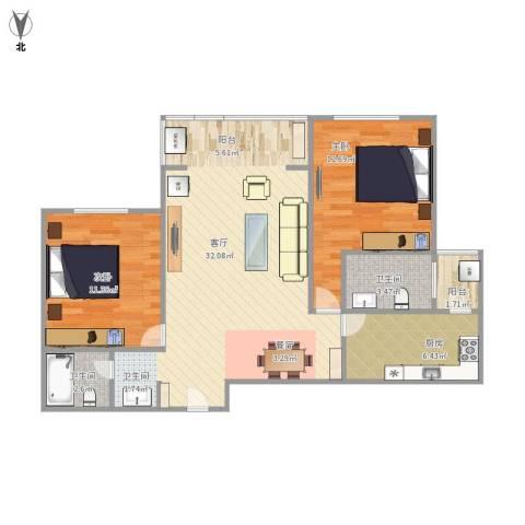 宇信凯旋城2室1厅2卫1厨95.00㎡户型图