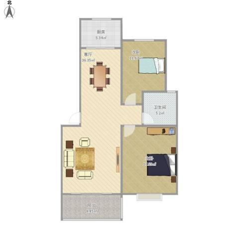 现代汉城2室1厅1卫1厨111.00㎡户型图