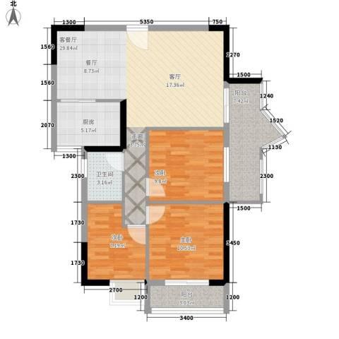 珠江怡景湾3室1厅1卫1厨92.00㎡户型图