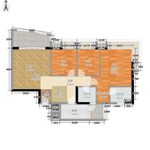 嘉汇华庭居尚3室1厅2卫1厨99.00㎡户型图