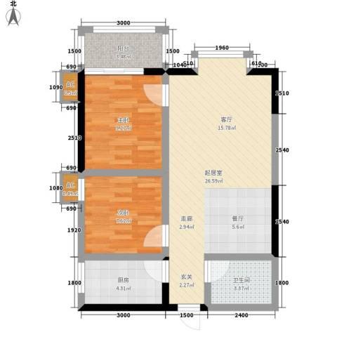 阳光嘉庭2室0厅1卫1厨75.00㎡户型图