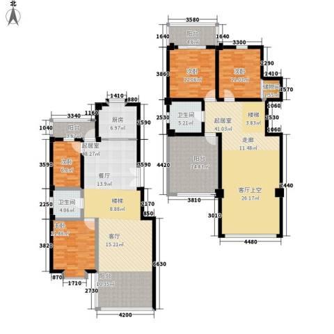 秋涛阁4室0厅2卫1厨195.17㎡户型图