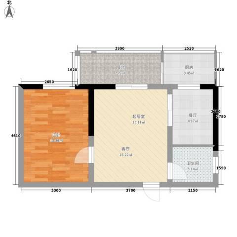 城市皇冠1室1厅1卫1厨66.00㎡户型图