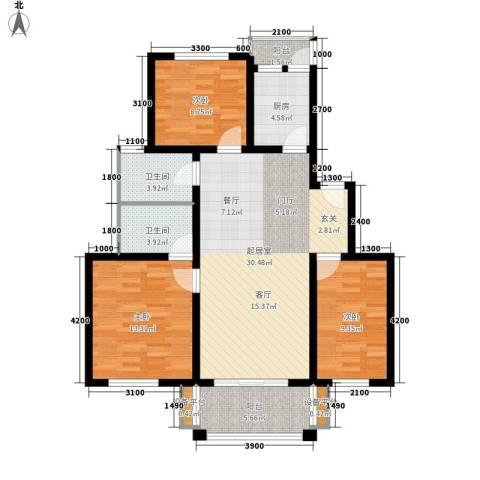 四季阳光3室0厅2卫1厨104.00㎡户型图