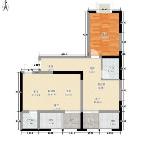 城市皇冠1室0厅2卫2厨66.75㎡户型图