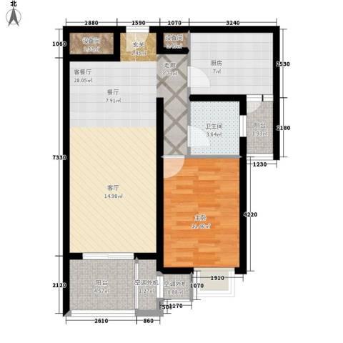 天兴都市花园1室1厅1卫1厨67.00㎡户型图