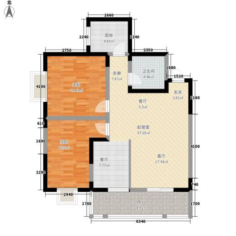 城市皇冠2室0厅1卫1厨95.00㎡户型图