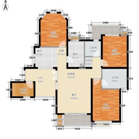 湘江世纪城聚江苑3室0厅2卫1厨132.00㎡户型图