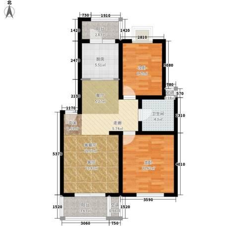 天兴都市花园2室1厅1卫1厨76.00㎡户型图