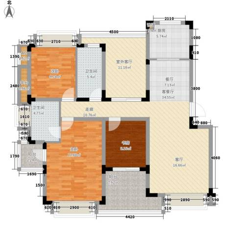 同景国际城恋山3室1厅2卫1厨109.09㎡户型图