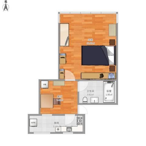 紫薇新村1室1厅1卫1厨54.00㎡户型图
