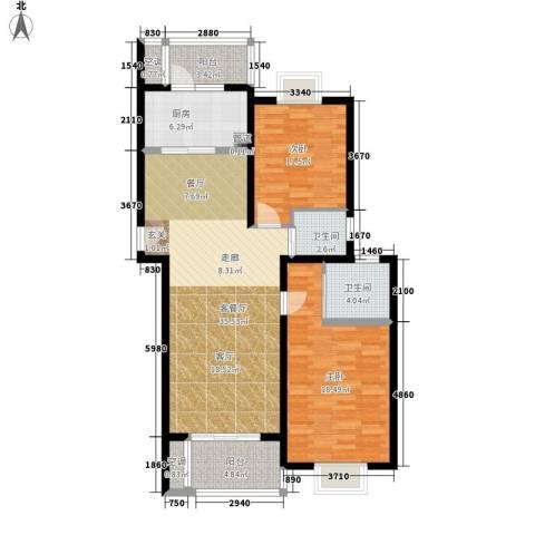 天兴都市花园2室1厅2卫1厨103.00㎡户型图