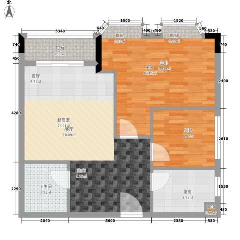 荔尚国际2室0厅1卫1厨66.00㎡户型图