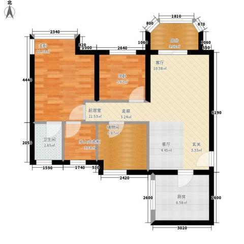 祈福水城2室0厅1卫1厨87.00㎡户型图