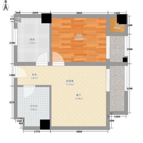 曲江澜山1室0厅1卫1厨57.00㎡户型图