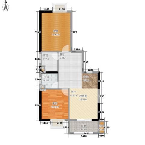 水岸东城2室0厅1卫1厨89.00㎡户型图