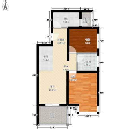 祈福水城2室0厅1卫1厨78.00㎡户型图