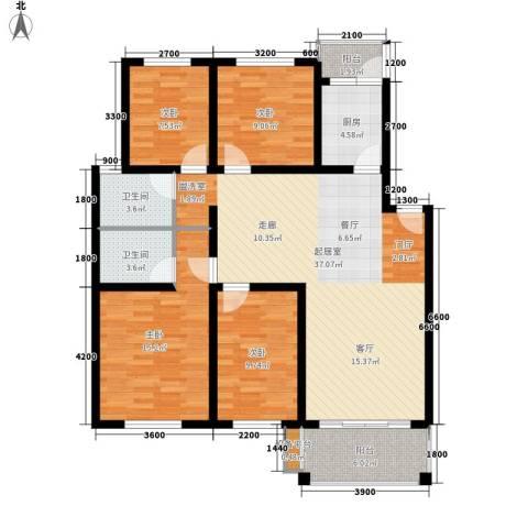 四季阳光4室0厅2卫1厨121.00㎡户型图