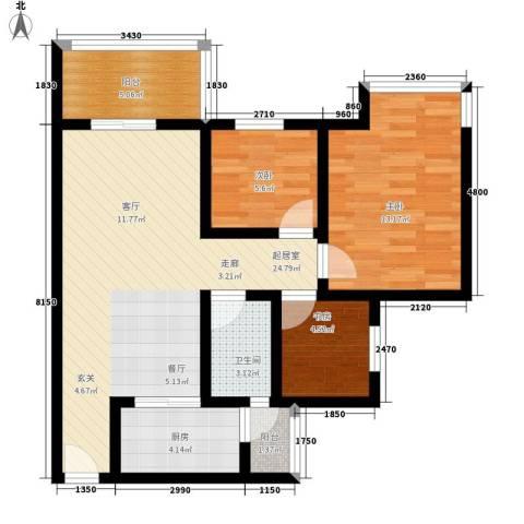 祈福水城3室0厅1卫1厨91.00㎡户型图