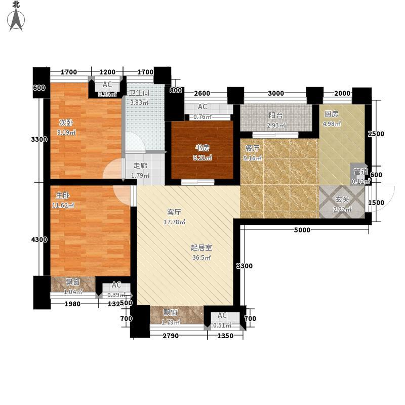 沙河名仕公馆92.54㎡1号楼标准层D1户型