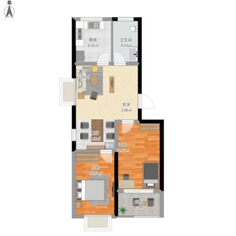 香岸花园2室1厅1卫1厨84.00㎡户型图