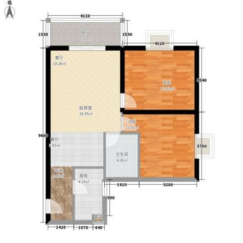 鼎盛国际公寓2室0厅1卫1厨64.95㎡户型图