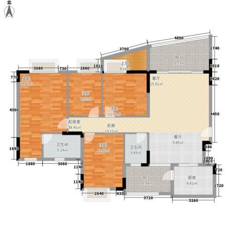 会展西岸4室0厅2卫1厨142.00㎡户型图