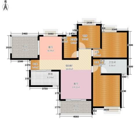 红谷凯旋3室1厅2卫1厨141.00㎡户型图