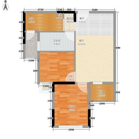 滨江公馆幸福ID2室1厅1卫1厨58.00㎡户型图