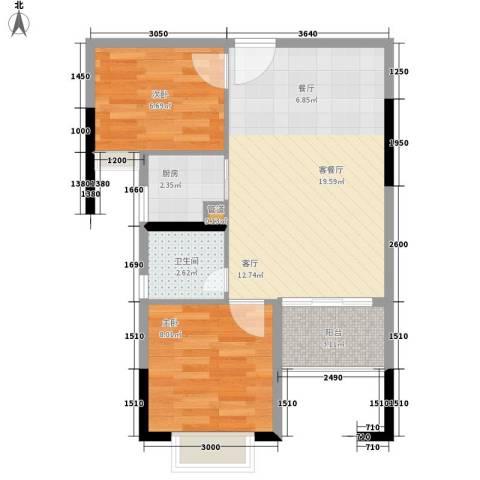 滨江公馆幸福ID2室1厅1卫1厨52.00㎡户型图