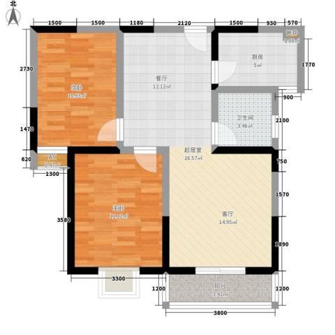 弘和美邻馆2室0厅1卫1厨86.00㎡户型图